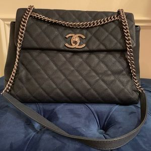 Chanel Tote Flap Bag Caviar Navy Leather